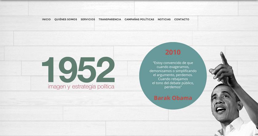 1952, firma especializada en estrategia electoral, presenta una moderna y referencial web