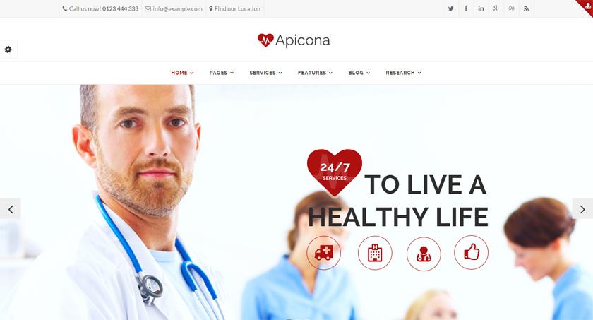 Las tres plantillas WordPress de la semana: Apicona, Medical Press y Health Center