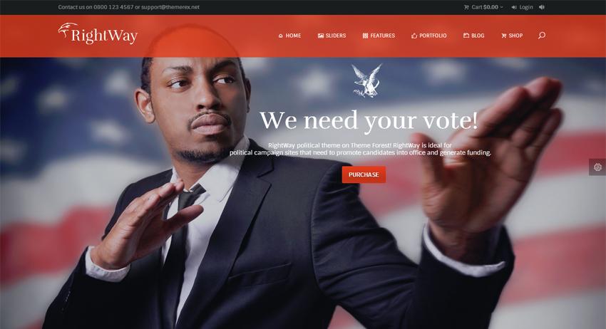 Las tres plantillas WordPress de la semana: Right Way, Election y Legislator