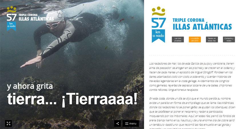 El espectacular reto a nado Triple Corona Illas Atlánticas debuta con una web para difundir la prueba